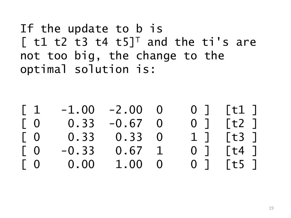 If the update to b is [ t1 t2 t3 t4 t5] T and the ti's are not too big, the change to the optimal solution is: [ 1 -1.00 -2.00 0 0 ] [t1 ] [ 0 0.33 -0