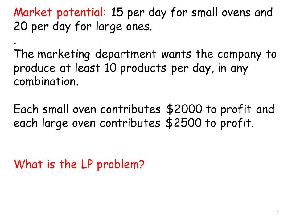 Market potential: 15 per day for small ovens and 20 per day for large ones..