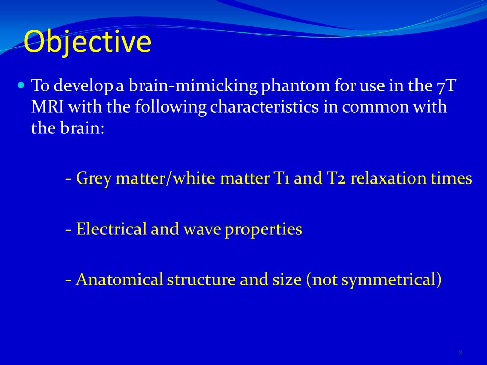 Objective To develop a brain-mimicking phantom for use in the 7T MRI with the following characteristics in common with the brain: - Grey matter/white