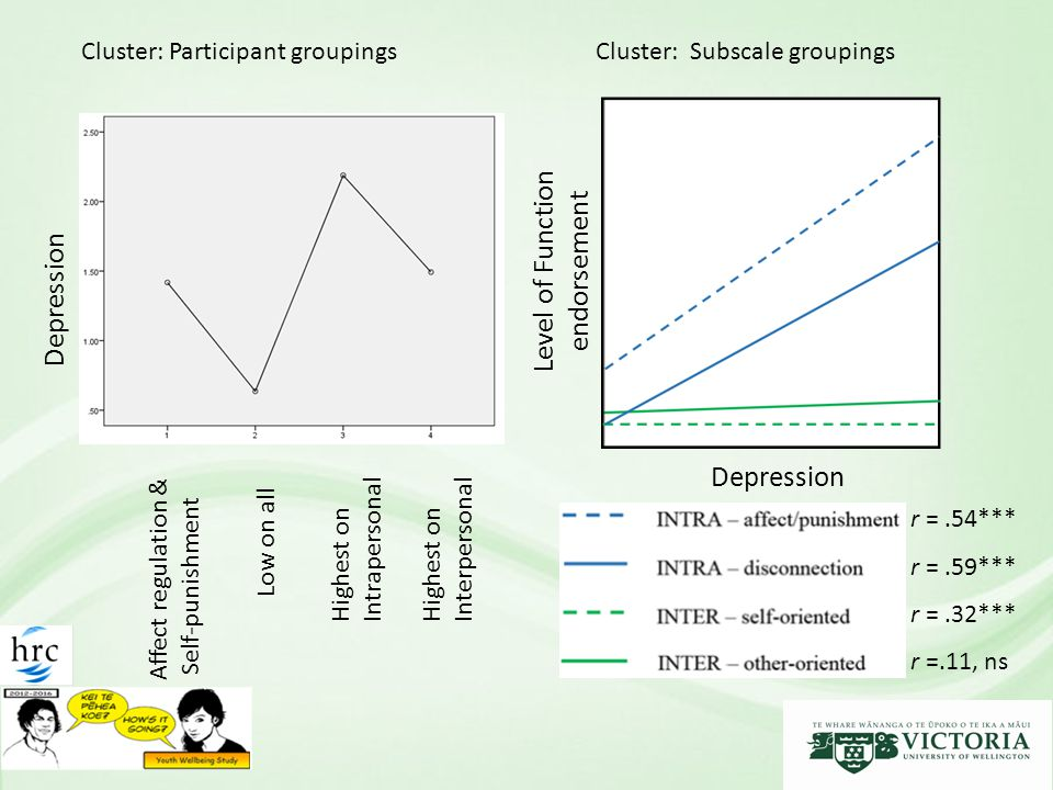 Depression Affect regulation & Self-punishment Low on all Highest on Intrapersonal Highest on Interpersonal Depression Level of Function endorsement Cluster: Participant groupingsCluster: Subscale groupings r =.54*** r =.59*** r =.32*** r =.11, ns