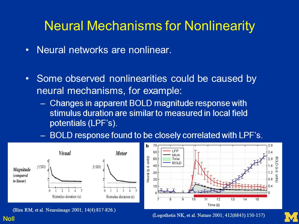 Noll Neural Mechanisms for Nonlinearity Neural networks are nonlinear. Some observed nonlinearities could be caused by neural mechanisms, for example: