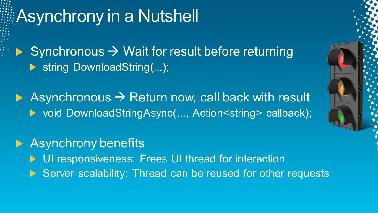 async Task GetRssAsync(string url) { var client = new WebClient(); var task = client.DownloadStringTaskAsync(url); var text = await task; var xml = XElement.Parse(text); return xml; } async Task GetRssAsync(string url) { var client = new WebClient(); var task = client.DownloadStringTaskAsync(url); var text = await task; var xml = XElement.Parse(text); return xml; }