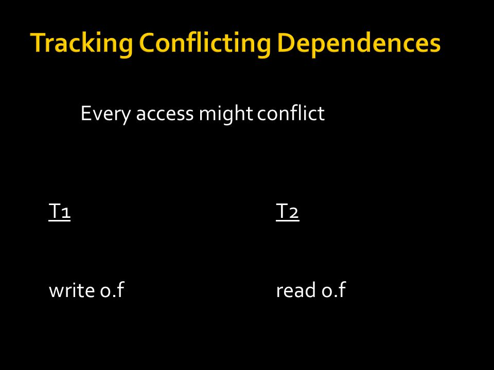 Every access might conflict Synchronization  conflicting access T1 if o.lastAccess != T1 … write o.f T2 if o.lastWrite != T2 … read o.f