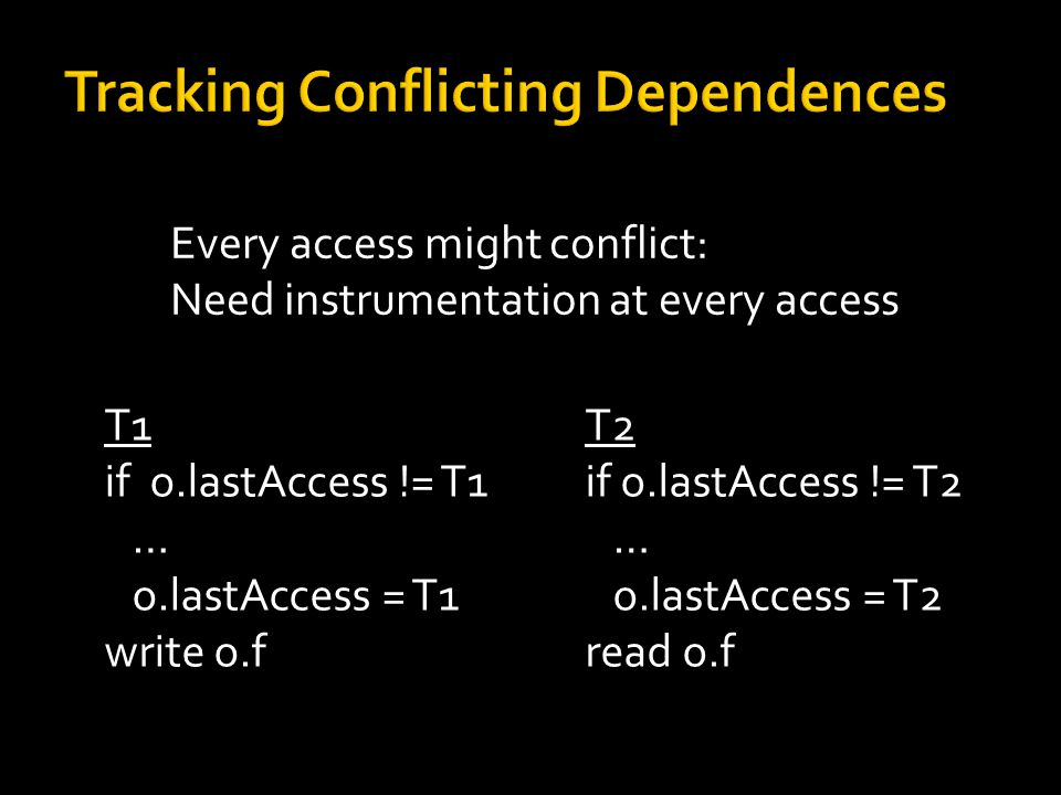 Every access might conflict: Need instrumentation at every access Synchronization  conflicting access T1 if o.lastAccess != T1 … o.lastAccess = T1 write o.f T2 if o.lastAccess != T2 … o.lastAccess = T2 read o.f
