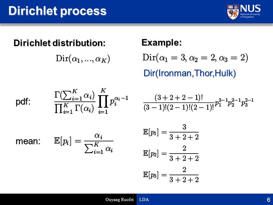 Dirichlet process Ouyang Ruofei LDA 6 Dirichlet distribution: pdf: mean: Example: Dir(Ironman,Thor,Hulk)
