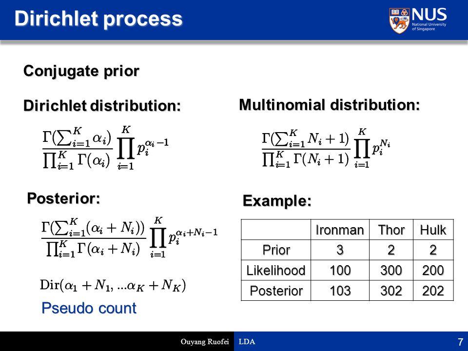 Dirichlet process Ouyang Ruofei LDA 7 Dirichlet distribution: Multinomial distribution: Conjugate prior Posterior: Example:IronmanThorHulkPrior322 Likelihood100300200 Posterior103302202 Pseudo count