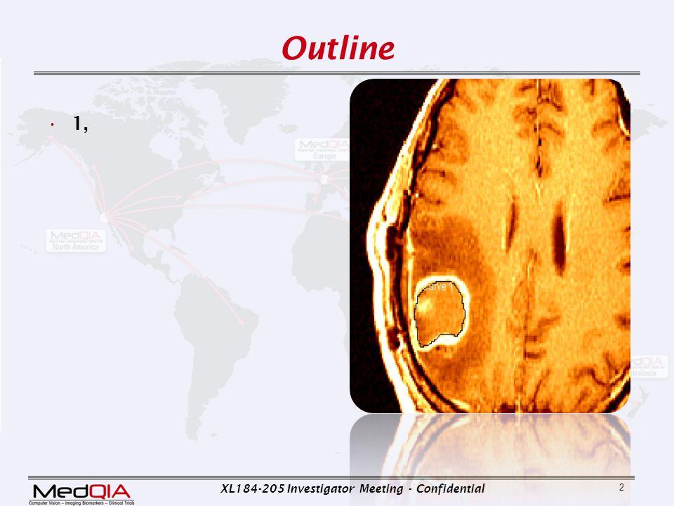 XL184-205 Investigator Meeting - Confidential 23 2 nd f/u: remote non- enhancing disease Example of Conversion from Enhancing to Non- enhancing Tumor Following Avastin Treatment Baseline: avid enhancement T1 Post Contrast T2 1 st f/u: little enhancement