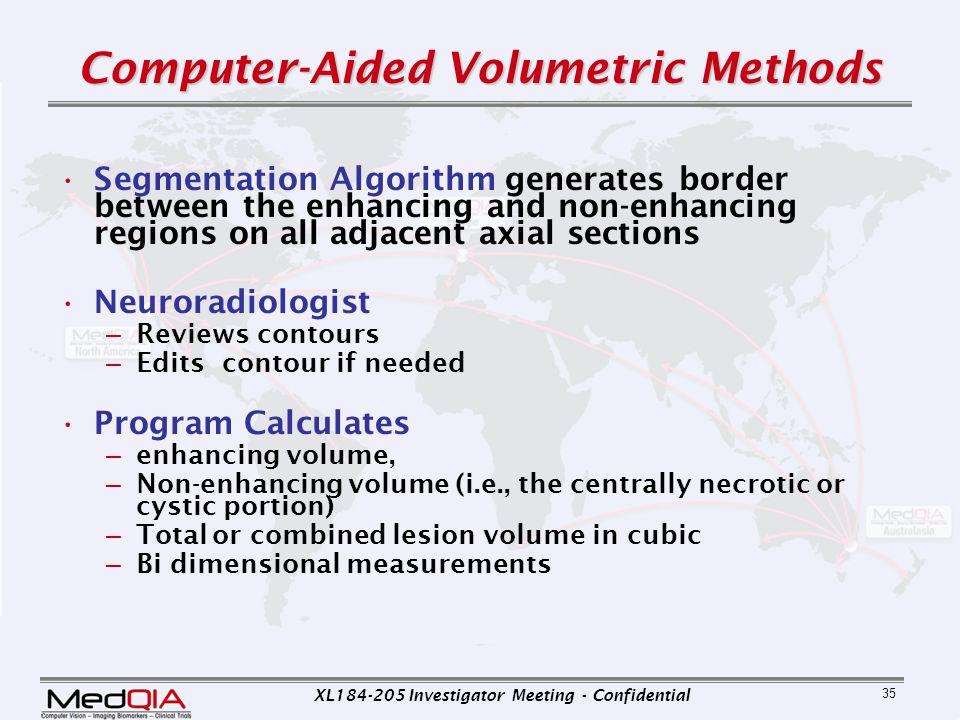 XL184-205 Investigator Meeting - Confidential 35 Computer-Aided Volumetric Methods Segmentation Algorithm generates border between the enhancing and n