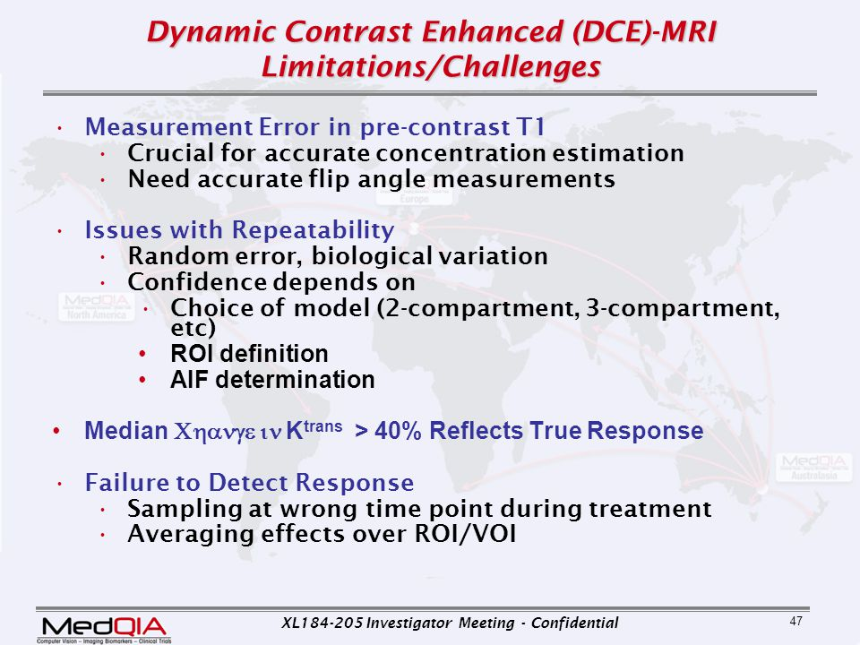 XL184-205 Investigator Meeting - Confidential 47 Dynamic Contrast Enhanced (DCE)-MRI Limitations/Challenges Measurement Error in pre-contrast T1 Cruci