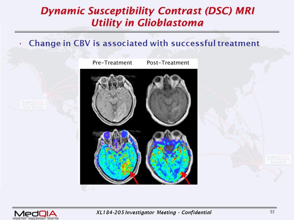 XL184-205 Investigator Meeting - Confidential 53 Dynamic Susceptibility Contrast (DSC) MRI Utility in Glioblastoma Change in CBV is associated with su