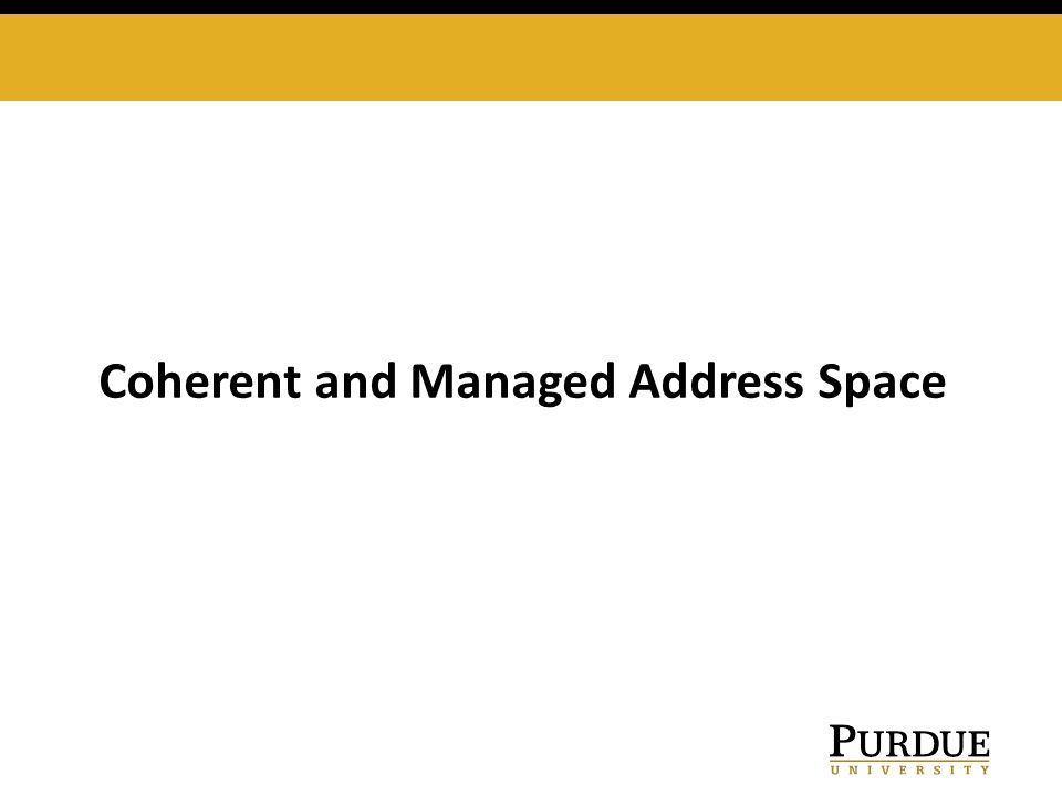 Coherent and Managed Address Space