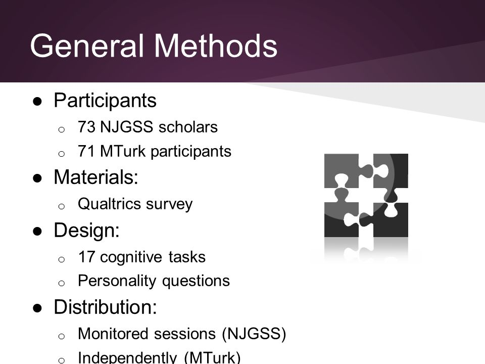 General Methods ●Participants o 73 NJGSS scholars o 71 MTurk participants ●Materials: o Qualtrics survey ●Design: o 17 cognitive tasks o Personality questions ●Distribution: o Monitored sessions (NJGSS) o Independently (MTurk)