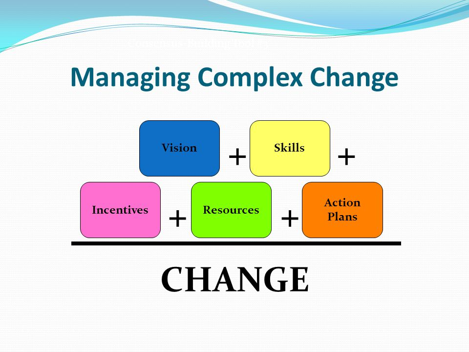 Managing Complex Change VisionSkills IncentivesResources Action Plans CHANGE ++ ++ Consensus-Building Tool #3