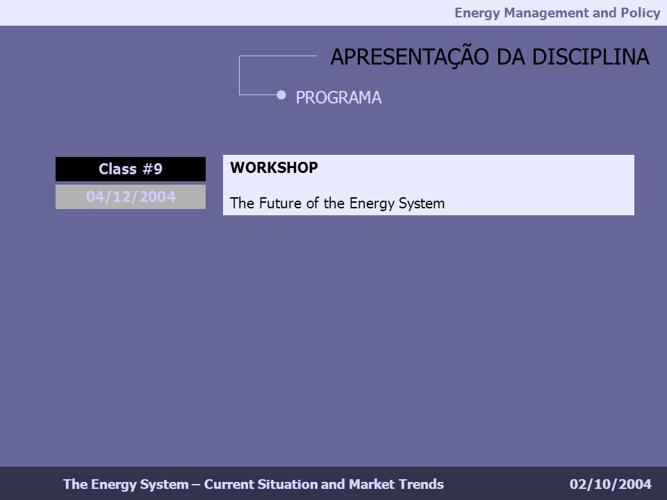 Energy Management and Policy 02/10/2004The Energy System – Current Situation and Market Trends APRESENTAÇÃO DA DISCIPLINA PROGRAMA Class #9 04/12/2004 WORKSHOP The Future of the Energy System