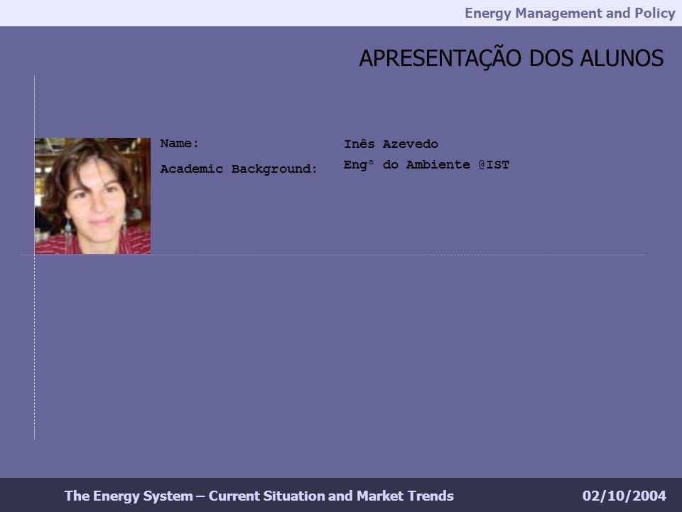 Energy Management and Policy 02/10/2004The Energy System – Current Situation and Market Trends APRESENTAÇÃO DOS ALUNOS Inês Azevedo Engª do Ambiente @IST Name: Academic Background: