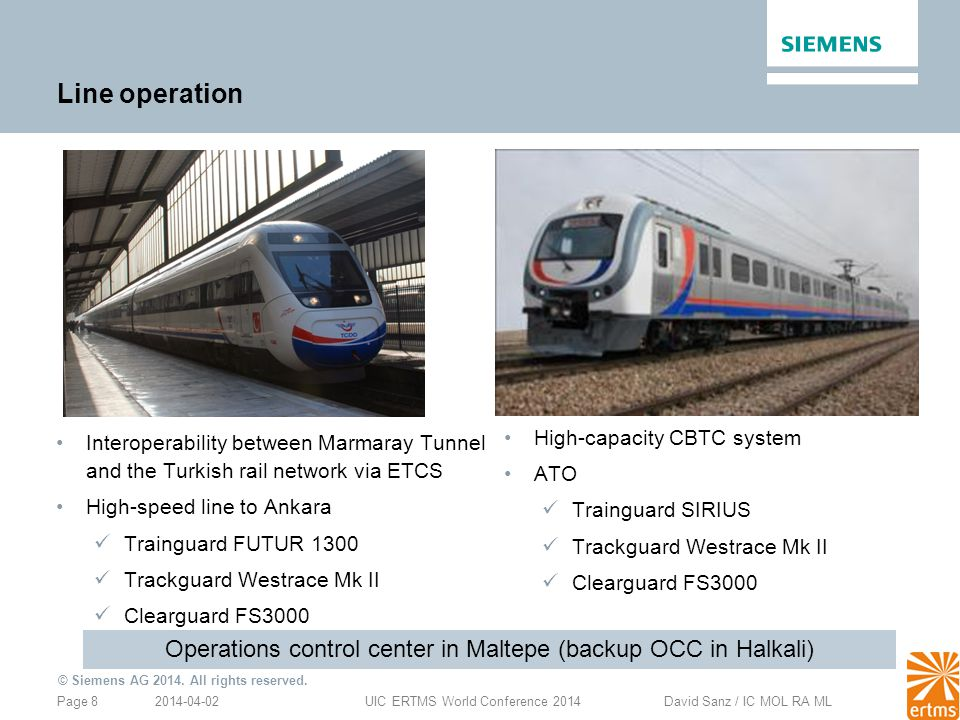2014-04-02Page 8UIC ERTMS World Conference 2014 David Sanz / IC MOL RA ML © Siemens AG 2014. All rights reserved. Line operation High-capacity CBTC sy