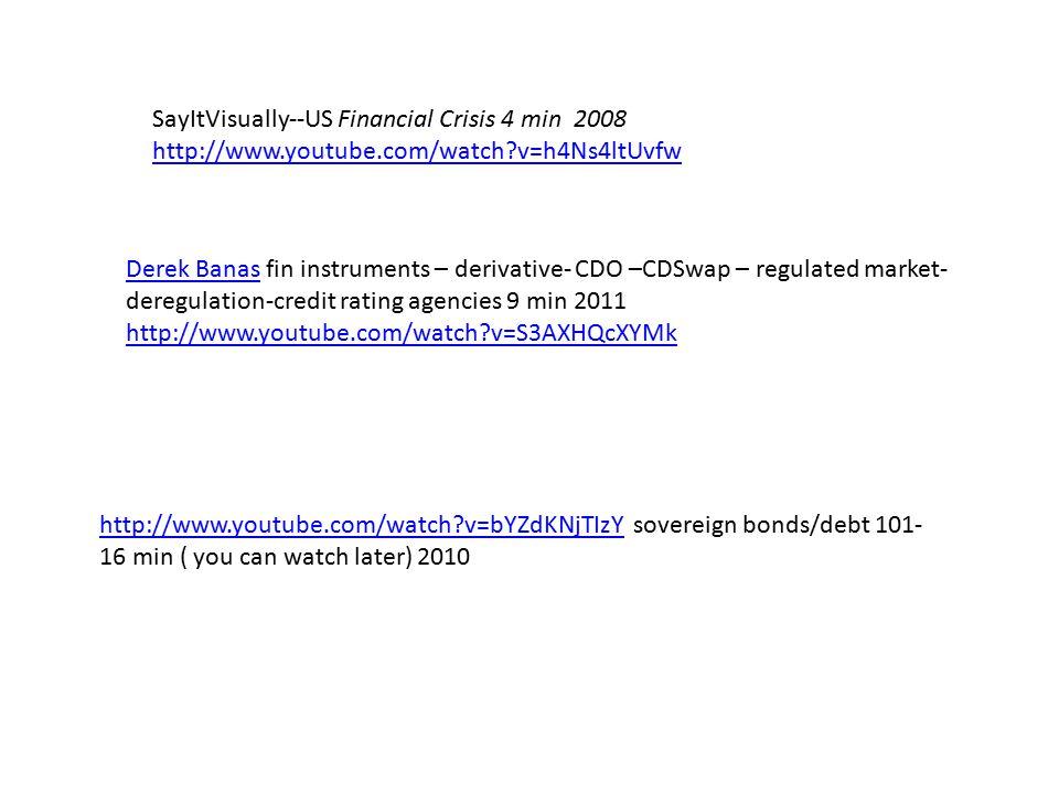 SayItVisually--US Financial Crisis 4 min 2008 http://www.youtube.com/watch v=h4Ns4ltUvfw http://www.youtube.com/watch v=bYZdKNjTIzYhttp://www.youtube.com/watch v=bYZdKNjTIzY sovereign bonds/debt 101- 16 min ( you can watch later) 2010 Derek BanasDerek Banas fin instruments – derivative- CDO –CDSwap – regulated market- deregulation-credit rating agencies 9 min 2011 http://www.youtube.com/watch v=S3AXHQcXYMk