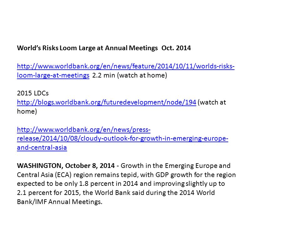 World's Risks Loom Large at Annual Meetings Oct.