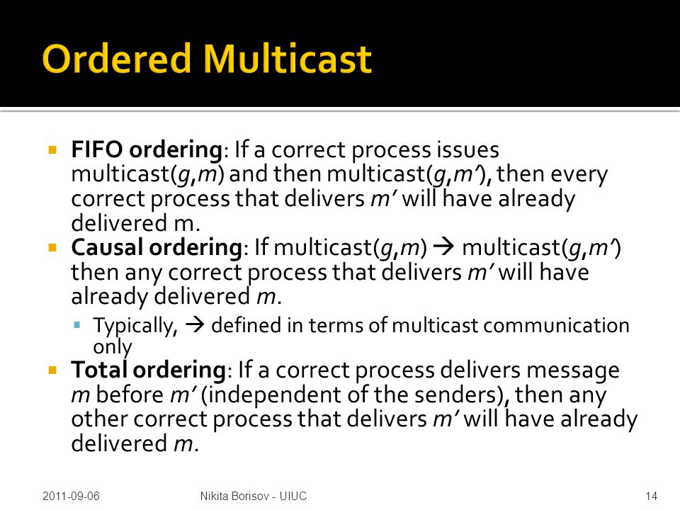  FIFO ordering: If a correct process issues multicast(g,m) and then multicast(g,m'), then every correct process that delivers m' will have already delivered m.