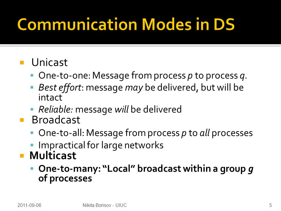  Unicast  One-to-one: Message from process p to process q.