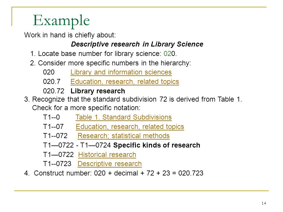 14 Work in hand is chiefly about: Descriptive research in Library Science 1. Locate base number for library science: 020. 2. Consider more specific nu