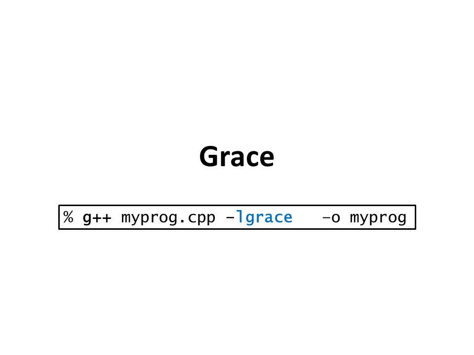 Grace % g++ myprog.cpp –lgrace –o myprog