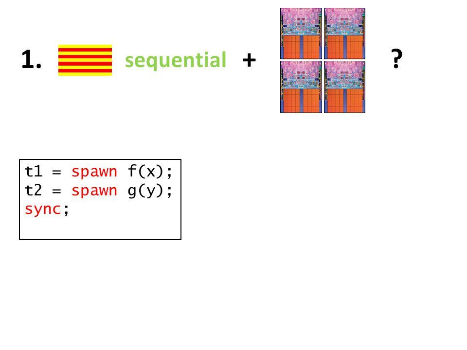 sequential +?1. t1 = spawn f(x); t2 = spawn g(y); sync;