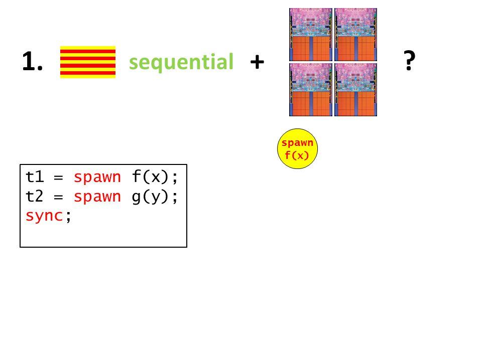 sequential + 1. t1 = spawn f(x); t2 = spawn g(y); sync; spawn f(x)