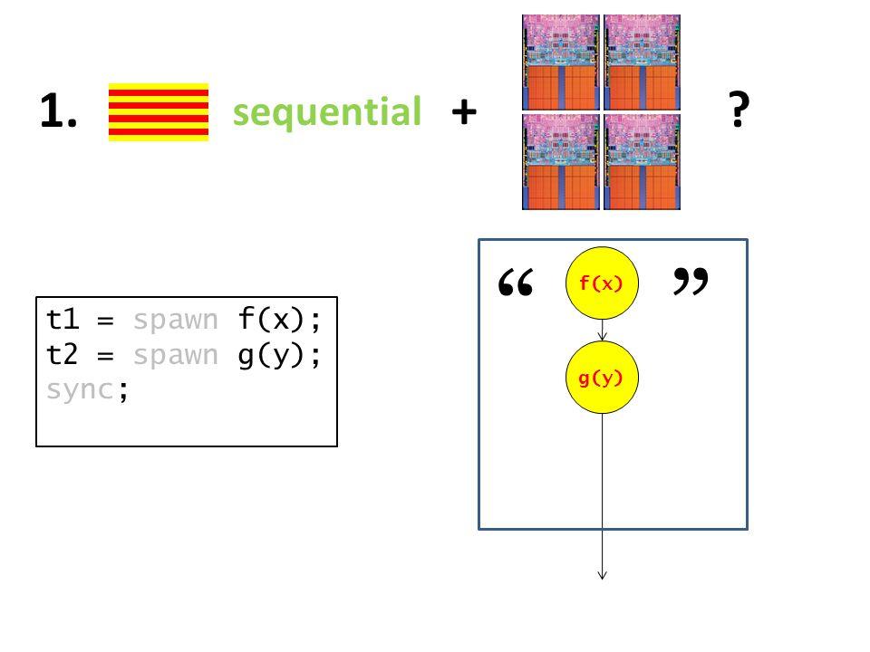 "sequential +?1. t1 = spawn f(x); t2 = spawn g(y); sync; f(x) g(y) """""