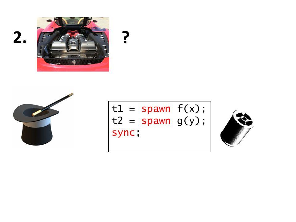t1 = spawn f(x); t2 = spawn g(y); sync;