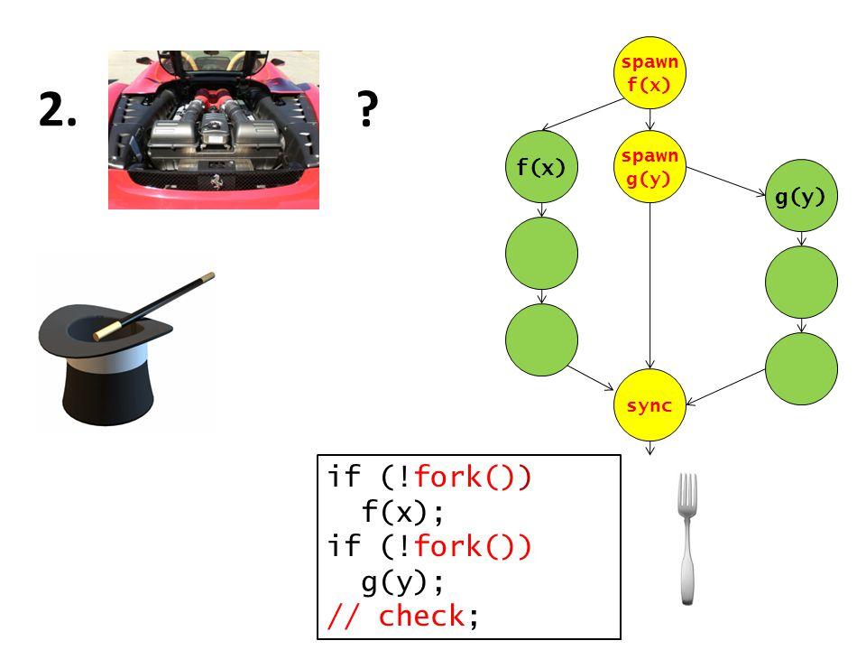 ? 2. if (!fork()) f(x); if (!fork()) g(y); // check; f(x) g(y) spawn f(x) spawn g(y) sync