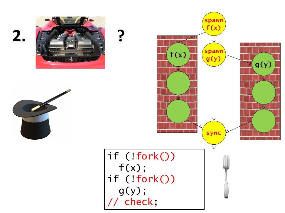 2. if (!fork()) f(x); if (!fork()) g(y); // check; f(x) g(y) spawn f(x) spawn g(y) sync