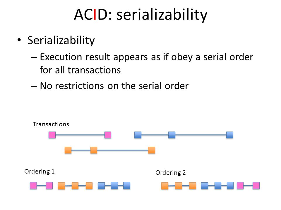 ACID: serializability Serializability – Execution result appears as if obey a serial order for all transactions – No restrictions on the serial order Ordering 1 Ordering 2 Transactions