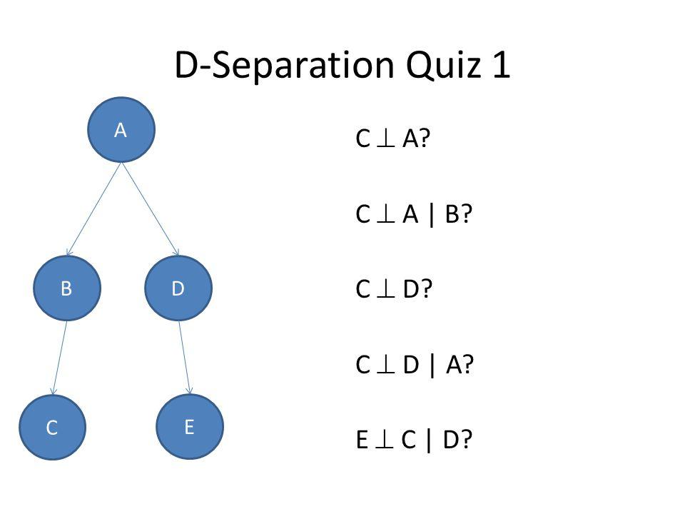 D-Separation Quiz 1 C  A? C  A | B? C  D? C  D | A? E  C | D? D A B C E