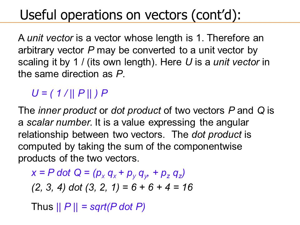 A unit vector is a vector whose length is 1. Therefore an arbitrary vector P may be converted to a unit vector by scaling it by 1 / (its own length).