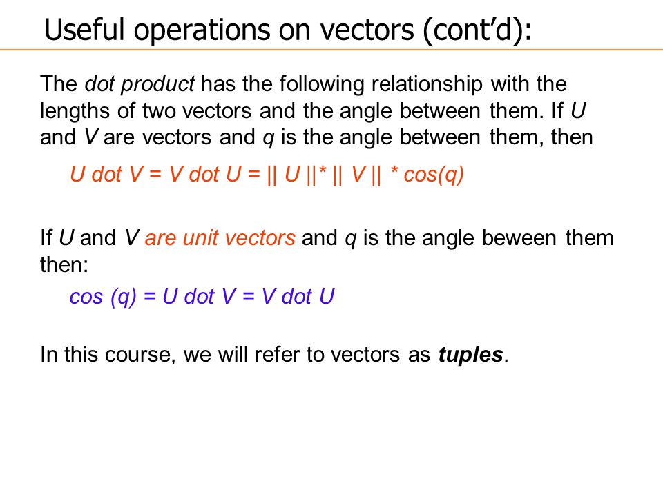 The dot product has the following relationship with the lengths of two vectors and the angle between them. If U and V are vectors and q is the angle b