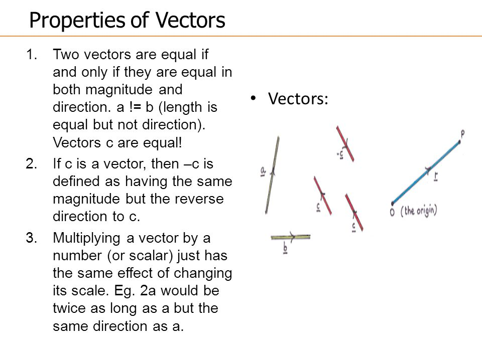 Properties of Vectors 1.Two vectors are equal if and only if they are equal in both magnitude and direction.