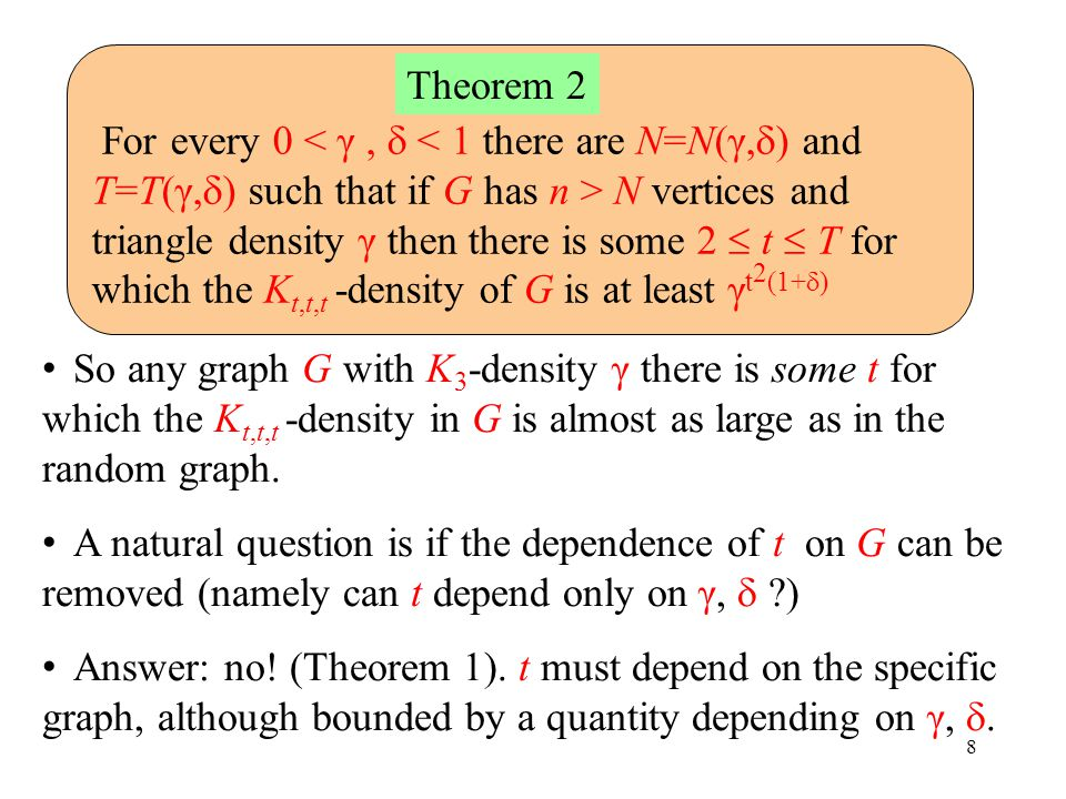 8 For every 0 N vertices and triangle density γ then there is some 2  t  T for which the K t,t,t -density of G is at least γ t 2 (1+  ) Theorem 2 So any graph G with K 3 -density γ there is some t for which the K t,t,t -density in G is almost as large as in the random graph.