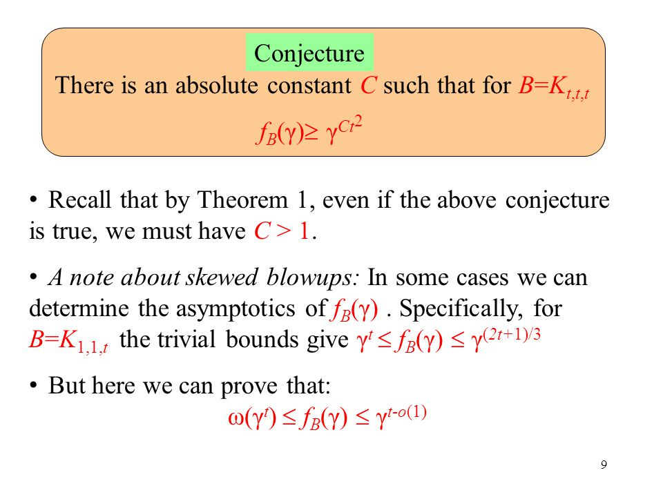 9 There is an absolute constant C such that for B=K t,t,t f B (γ)  γ Ct 2 Conjecture Recall that by Theorem 1, even if the above conjecture is true, we must have C > 1.