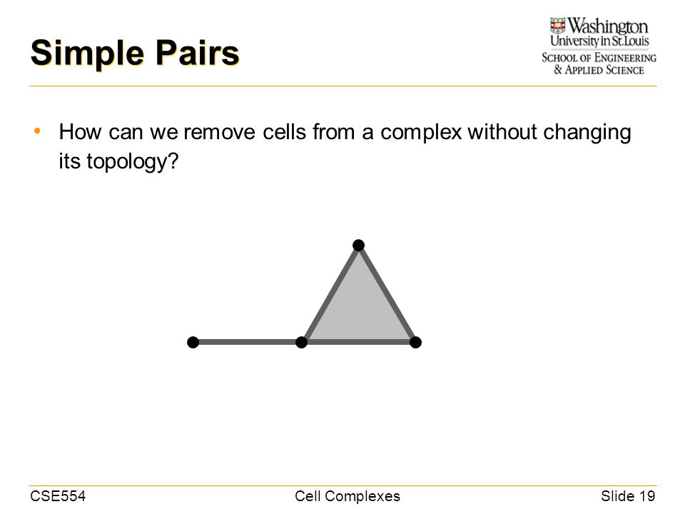 CSE554Cell ComplexesSlide 19 Simple Pairs How can we remove cells from a complex without changing its topology?