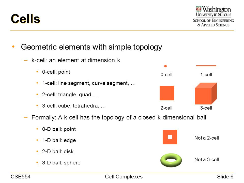 CSE554Cell ComplexesSlide 6 Cells Geometric elements with simple topology – k-cell: an element at dimension k 0-cell: point 1-cell: line segment, curv