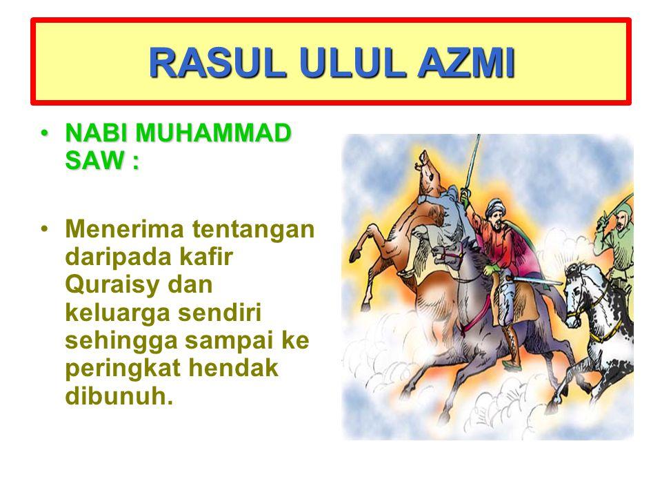 RASUL ULUL AZMI NABI MUHAMMAD SAW :NABI MUHAMMAD SAW : Menerima tentangan daripada kafir Quraisy dan keluarga sendiri sehingga sampai ke peringkat hen