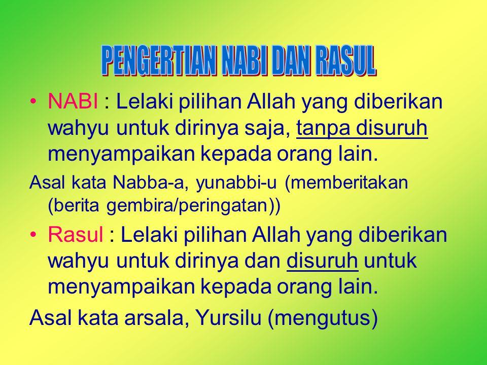 NABI : Lelaki pilihan Allah yang diberikan wahyu untuk dirinya saja, tanpa disuruh menyampaikan kepada orang lain. Asal kata Nabba-a, yunabbi-u (membe
