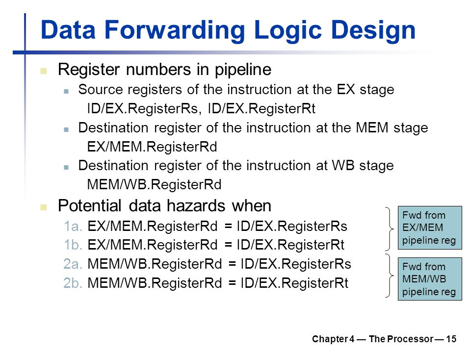 Chapter 4 — The Processor — 15 Data Forwarding Logic Design Register numbers in pipeline Source registers of the instruction at the EX stage ID/EX.Reg