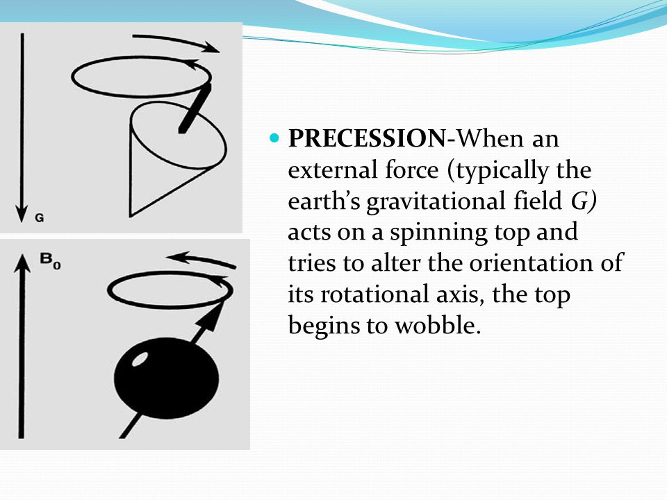 PRECESSION-When an external force (typically the earth's gravitational field G) acts on a spinning top and tries to alter the orientation of its rotat