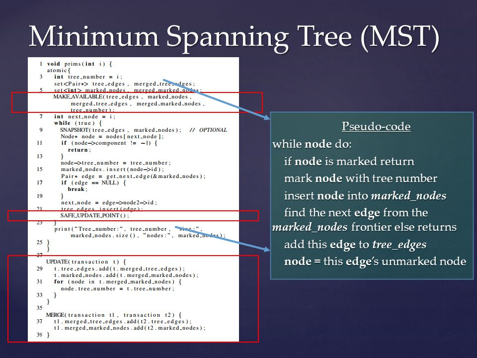Minimum Spanning Tree (MST) Pseudo-code while node do: if node is marked return if node is marked return mark node with tree number mark node with tree number insert node into marked_nodes insert node into marked_nodes find the next edge from the marked_nodes frontier else returns find the next edge from the marked_nodes frontier else returns add this edge to tree_edges add this edge to tree_edges node = this edge's unmarked node node = this edge's unmarked node