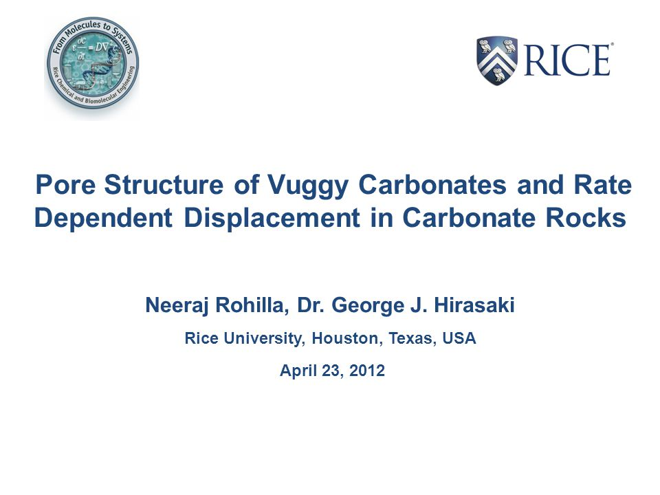 Pore Structure of Vuggy Carbonates and Rate Dependent Displacement in Carbonate Rocks Neeraj Rohilla, Dr.