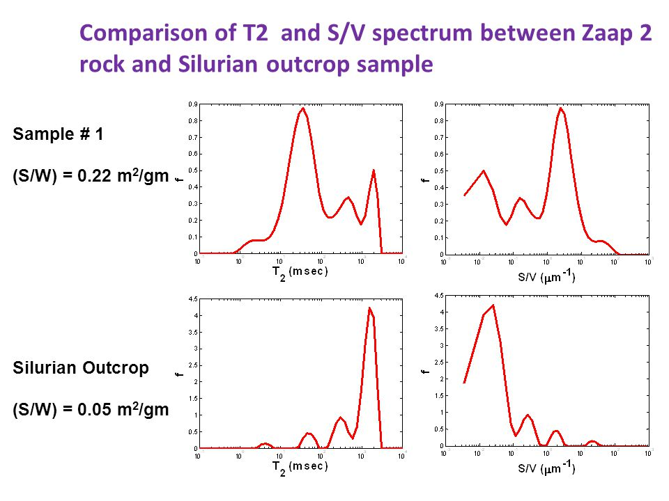 Sample # 1 (S/W) = 0.22 m 2 /gm Silurian Outcrop (S/W) = 0.05 m 2 /gm Comparison of T2 and S/V spectrum between Zaap 2 rock and Silurian outcrop sample