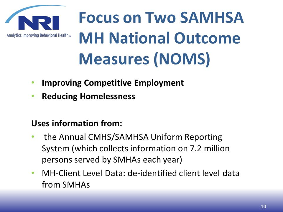 Focus on Two SAMHSA MH National Outcome Measures (NOMS) Improving Competitive Employment Reducing Homelessness Uses information from: the Annual CMHS/SAMHSA Uniform Reporting System (which collects information on 7.2 million persons served by SMHAs each year) MH-Client Level Data: de-identified client level data from SMHAs 10