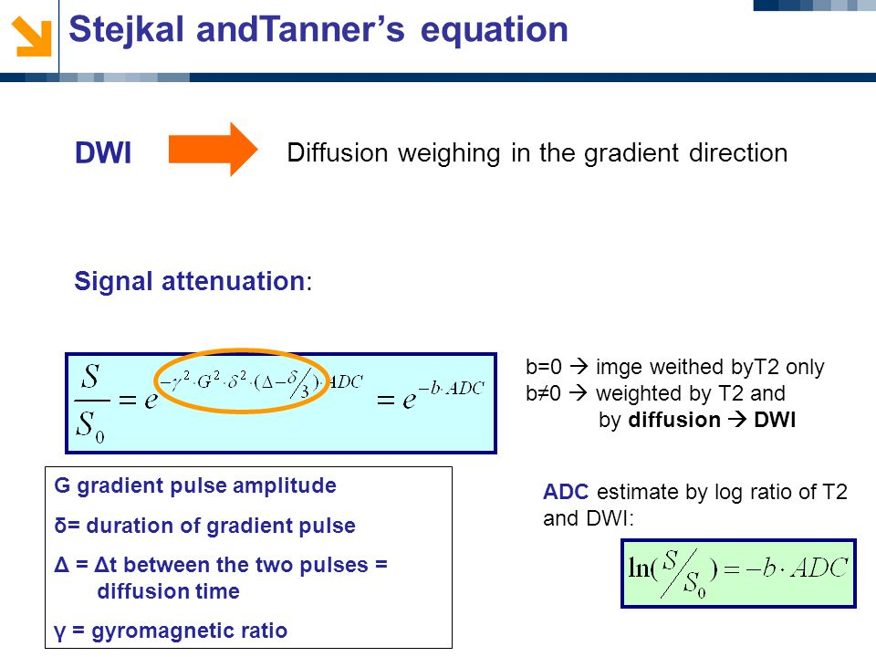 Stejkal andTanner's equation Diffusion weighing in the gradient direction b=0  imge weithed byT2 only b≠0  weighted by T2 and by diffusion  DWI ADC estimate by log ratio of T2 and DWI: Signal attenuation: DWI G gradient pulse amplitude δ= duration of gradient pulse Δ = Δt between the two pulses = diffusion time γ = gyromagnetic ratio